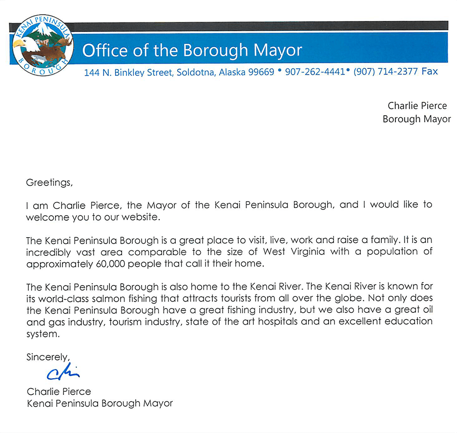 MayorPierceWelcomeLetter